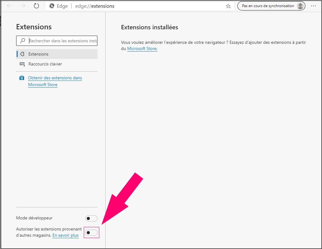 Edge Activer extensions externes pour Chromestore