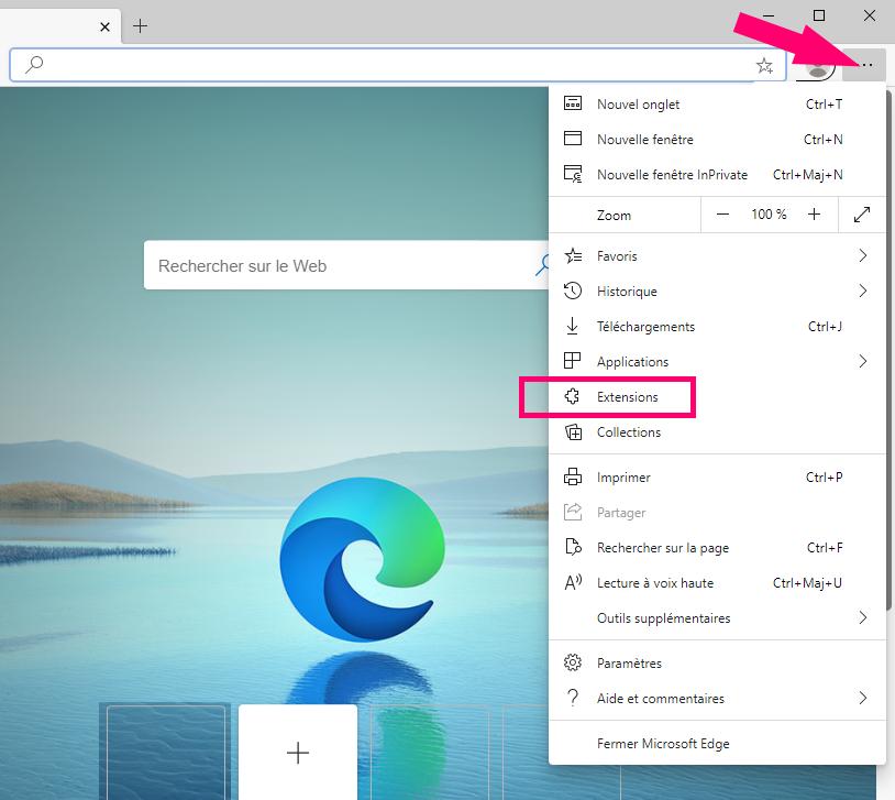 extensions menu navigateur Edge